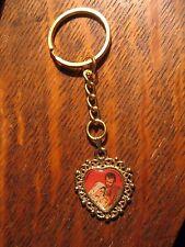 Jesus Mary Joseph Keychain - Vintage Mother Madonna Christ Child Medal Key Ring