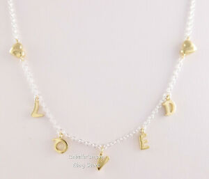 LOVED SCRIPT Authentic PANDORA SHINE Golden HEARTS Necklace 367818 NEW w POUCH!