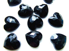 40 Black Love Heart Faceted Beads Acrylic Rhinestones/Gems 16 mm Flat Back SewOn