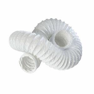 "White Flexible Ducting Tumble Dryer Flexiduct 3 6 15m 100mm 125mm 150mm 4"" 5"" 6"""