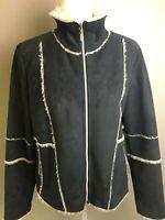 Outdoor Edition Parkhurst Faux Shearling Suede Jacket Coat Sz M Black Cream EUC