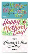 Lot (3) Mother's Day Gift Cards Walmart Target Kohl's No $ Value Collectible Mom