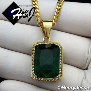 """20""""MEN Stainless Steel 3mm Gold Miami Cuban Curb Link Necklace Green Pendant*G98"""