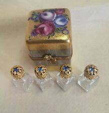 FRANCE LIMOGES BOX ENCRUSTED WITH GOLD & SILVER BOX WITH PERFUME BOTTLES *NEW*