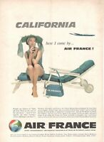 1961 Original Advertising' Vintage American Air France Airlines California