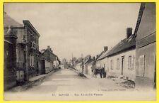 cpa 80 - BOVES (Somme) RUE ALEXANDRE VASSEUR  FABRIQUE CHARETTE de FOIN