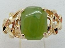 14k Solid Yellow Gold  2CT Jade Jadeite Ring 2.2g Ring Size 5