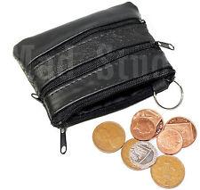 LEATHER MENS LADIES SOFT BLACK COIN POUCH PURSE WALLET ZIPPER -RM01