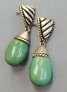 CAROLYN POLLACK GREEN TURQUOISE DANGLE EARRINGS Sterling Silver POST 8 Grams