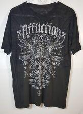 AFFLICTION Mens Seek & Destroy Eagle Wing Burnout T Shirt Size Large