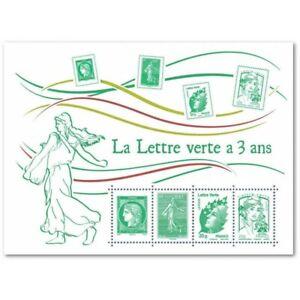 """FEUILLET F4908 """"LA LETTRE VERTE A 3 ANS"""" (2014) DE 4 TIMBRES SE TENANT"""