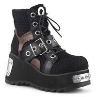 Demonia SCENE-53 Women's Black Vegan Leather Fishnet Fabric Lace-Up Ankle Boots