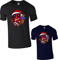 Deadpool Christmas Gifts Kids T-Shirt,Funny Cartoon Santa Hat Xmas Marvel Comics