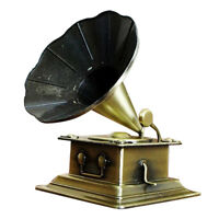 Vintage Metal Phonograph Model Record Player Prop Gramophone Home Ornaments