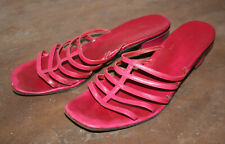 Vintage Joyce Heeled Sandals Pink Leather Strap Size 9M
