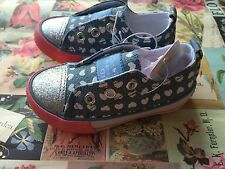Baby Girls Pink Silver Glitter Denim Shoe Trainer Pump Plimsole Lo Top Size 5 BN