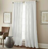 "Design Solutions Minimal Room Darkening Curtain Panels 84"" Talia White Set of 2"