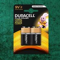 2 Pack Duracell PLUS POWER 9V 6LR61 MN1604 PP3 Alkaline Batteries Smoke Alarm