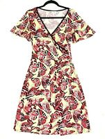 Leona Edmiston 'Ruby' Women's Size XS Yellow Red Butterfly Faux Wrap Midi Dress