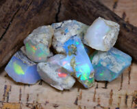 Natural Ethiopian multi coloured Welo rough Opals 31.60 CTS