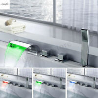 Deck Mounted Waterfall LED Lights Sink Basin Mixer Tap Bath Tub Faucet Bathroom