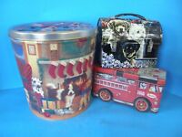 LOT OF 3 COLLECTOR'S EDITION CHRISTMAS, PUPPY LOVE LUNCH BOX & BANK TINS