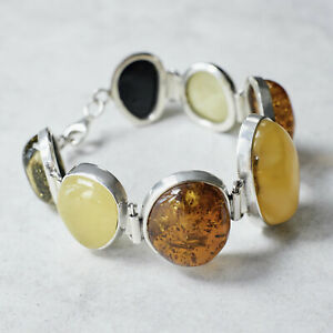 Elegant Baltic Amber Bracelet Sterling Silver Statement Bracelet Gift for Her