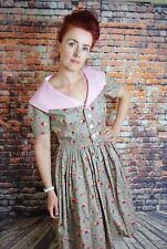 Vintage Reproduction 1950s Shirt Dress Pink And Grey Floral Print Size 12