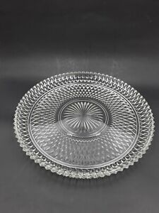 """Vintage Indiana Glass Clear Diamond Point Torte Plate Platter 12"""" In Diameter"""