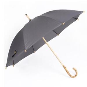 Bamboo Handle Long Umbrella Men Retro Curved Handle Large Rain Umbrella Strong