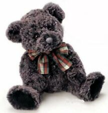 """Russ Berrie Extra Soft Teddy Bear with Plaid Bow 8"""" (Charcoal)"""