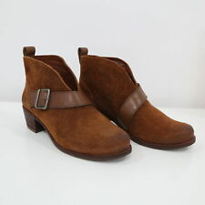 UGG Ankle Booties Wright Belted Womens US5 Suede Leather Genuine Shearling Brown