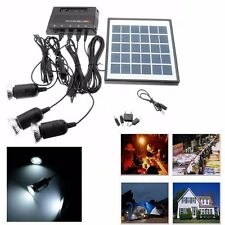4W 6V Solar Panel + 3x LED Light USB Charger + Power Bank Home Garden System Kit