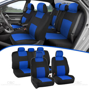 Blue Full Set Car Seat Covers Premium Double Stitching w/ Split Bench