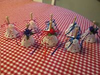 8 Hand Crochet White Starched Bells Wood Handles Christmas Wedding Shower Decor