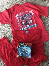 Boy TRANSFORMERS Red T-shirt PLUS 100pc PUZZLE Lot 10/12 BARRICADE +FREE PJ Pant