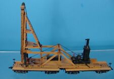 TG- HOn3 BRASS/WOOD PRECISION SCALE HAMMOND TYPE PILE DRIVER & 2 HOn3 FLAT CARS