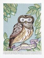 Julia Junkin Design for PHI Cotton Kitchen Tea Towel Happy Everything Owl  - NEW