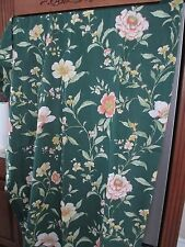 """Sears ~ Salmon Floral On Forestgreen Background ~ Panels 82""""L X 40""""W"""