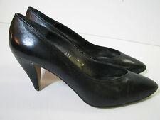Oh! Nina Black Leather Vintage 80'S Pumps High Heel Dress Shoes sz 7 M