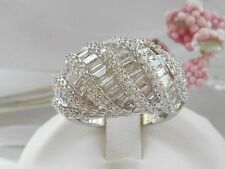 QVC- Diamonique Baguette Dome Design Sterling silver Ring Size 5