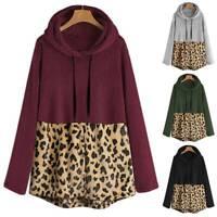 Women Hoodie Baggy Leopard Sweater Fluffy Fleece Fur Ladies Sweatshirt Pullover