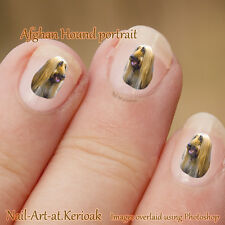 Afghan Hound,  24 Unique Designer Dog Nail Art Stickers, fingernail art Decals