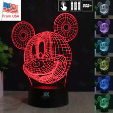 Mickey Mouse 3D Acrylic LED Night Light Desk Table Lamp 7 Color Battery Kid Gift