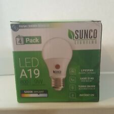 Sunco 4 Pack A19  LED Bulb Dusk-to-Dawn 9W (60W) 5000K Daylight
