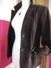 Ladies NEXT brown suede real leather fitted short BLAZER JACKET COAT UK 18 16