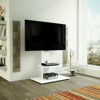 """Satin White TV Stand Cantilever with TV Mount Bracket 32 - 60"""" LED LCD Curved"""