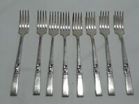 "Lot of 8 Vintage 7 1/2"" Salad Forks Community Silver Plate Morning Star"