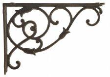 "Decorative Cast Iron Wall Shelf Bracket Ornate Vine Rust Brown 13.5"" Deep"