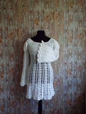 HAND Crochet anni'60 anni'70 Angelo Bell Manica Abito Taglia 10 da sposa Hippy Boho Vintage